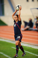 Stephanie Cox throwing. The USWNT defeated Iceland (2-0) at Vila Real Sto. Antonio in their opener of the 2010 Algarve Cup on February 24, 2010.