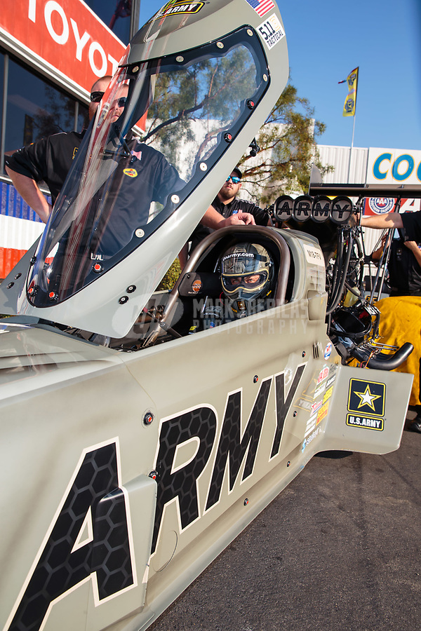 Nov 11, 2018; Pomona, CA, USA; NHRA top fuel driver Tony Schumacher during the Auto Club Finals at Auto Club Raceway. Mandatory Credit: Mark J. Rebilas-USA TODAY Sports