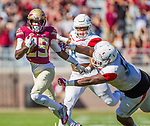 Florida State wide receiver D.J. Matthews gets past the Delaware State defense in the first half of an NCAA football game in Tallahassee, Fl.  Florida State defeated Delaware State 77-6.