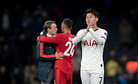 Son Heung-Min of Spurs at full time during the UEFA Champions League group match between Tottenham Hotspur and Bayern Munich at Wembley Stadium, London, England on 1 October 2019. Photo by Andy Rowland.