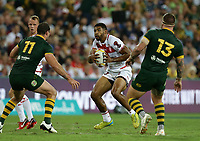 England's Kallum Watkins attacks during the Rugby League World Cup final between Australia and England, Suncorp Stadium, Brisbane, Australia, 2 December 2017. Copyright Image: Tertius Pickard / www.photosport.nz MANDATORY CREDIT/BYLINE : SWpix.com/PhotosportNZ