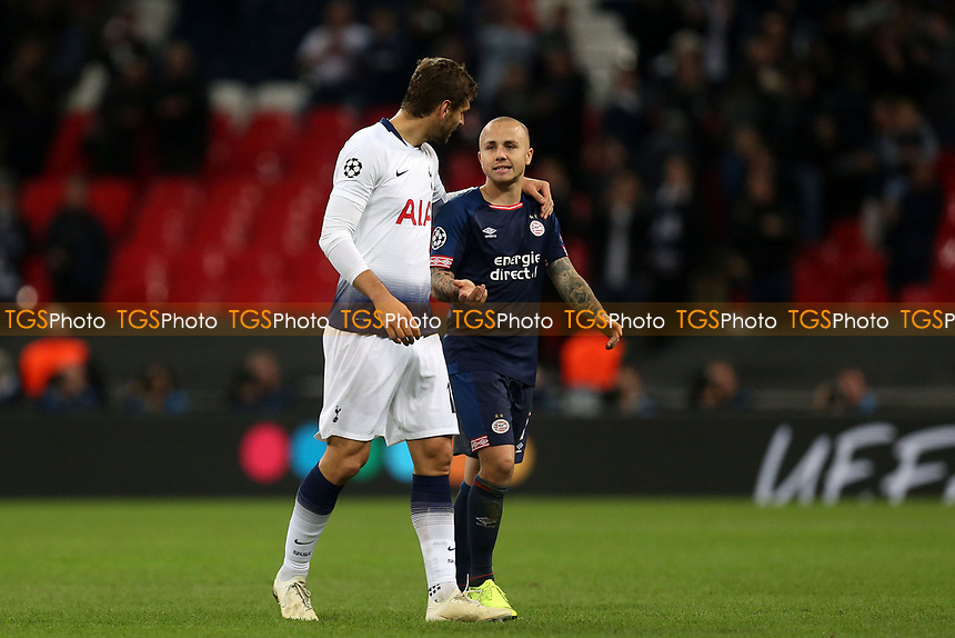 Angelino of PSV Eindhoven and Fernando Llorente of Tottenham Hotspur after Tottenham Hotspur vs PSV Eindhoven, UEFA Champions League Football at Wembley Stadium on 6th November 2018