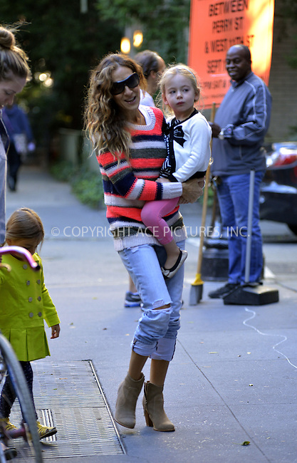 WWW.ACEPIXS.COM<br /> <br /> September 17 2013, New York City<br /> <br /> Actress Sarah Jessica Parker takes twins Tabitha and Marion to school in the West Village on September 17 2013 in New York City<br /> <br /> <br /> <br /> By Line: Curtis Means/ACE Pictures<br /> <br /> <br /> ACE Pictures, Inc.<br /> tel: 646 769 0430<br /> Email: info@acepixs.com<br /> www.acepixs.com