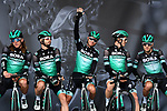 Bora-Hansgrohe on stage at the team presentation before Stage 1 of the Criterium du Dauphine 2019, running 142km from Aurillac to Jussac, France. 9th June 2019<br /> Picture: ASO/Alex Broadway | Cyclefile<br /> All photos usage must carry mandatory copyright credit (© Cyclefile | ASO/Alex Broadway)