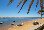 Sandy beach and lagoon behind offshore sandbar, Vila Nova de Cacela, Algarve, Portugal, Southern Europe - Ria Formosa Natural Park