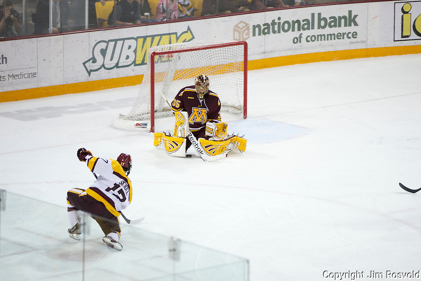 14 Oct 11: Kent Patterson (Minnesota -35) save. The University of Minnesota-Duluth Bulldogs host the University of Minnesota Golden Gophers in a WCHA matchup at Amsoil Arena in Duluth, MN.