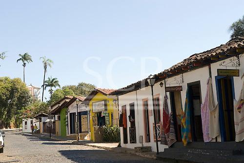 Pirenopolis, Goias State, Brazil. Tourist shops on a cobbled street.