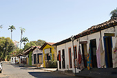 Pirenopolis, Goias State, Brazil. Tourist shops on a cobbled street.