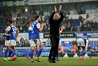 Ipswich Town manager Paul Hurst applauds the fans at the final whistle <br /> <br /> Photographer Hannah Fountain/CameraSport<br /> <br /> The EFL Sky Bet Championship - Ipswich Town v Stoke City - Saturday 16th February 2019 - Portman Road - Ipswich<br /> <br /> World Copyright © 2019 CameraSport. All rights reserved. 43 Linden Ave. Countesthorpe. Leicester. England. LE8 5PG - Tel: +44 (0) 116 277 4147 - admin@camerasport.com - www.camerasport.com