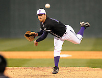 Pitcher Daniel Stallsmith (14) of the Furman Paladins in a game against the Michigan State Spartans on February 25, 2012, at Fluor Field in Greenville, South Carolina. (Tom Priddy/Four Seam Images)