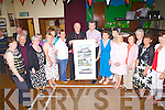 Mountcollins native, Bishop Michael Lenihan, who returned home from South America after been ordained, pictured here last Saturday night with parish members in the local hall.