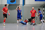 Mannheim, Germany, January 18: During the 1. Bundesliga Herren Hallensaison 2014/15 Sued hockey match between Mannheimer HC (blue) and TSV Mannheim (red) on January 18, 2015 at Irma-Roechling-Halle in Mannheim, Germany. Final score 4-6 (4-4). (Photo by Dirk Markgraf / www.265-images.com) *** Local caption *** Jonathan Ehling #9 of Mannheimer HC