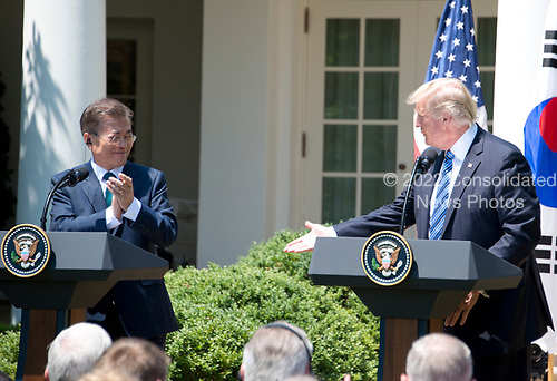 United States President Donald J. Trump and President Moon Jae-in of the Republic of Korea make joint statements in the Rose Garden of the White House in Washington, DC on Friday, June 30, 2017.  <br /> Credit: Ron Sachs / CNP