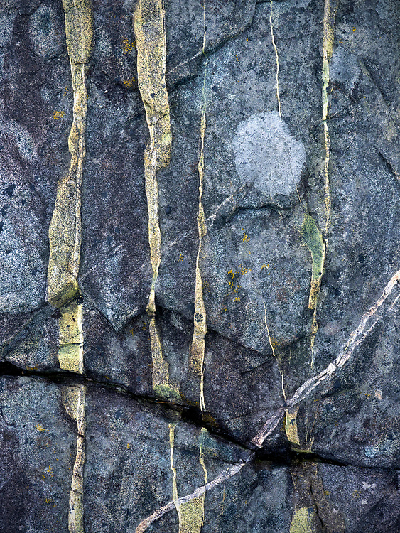 Abstract view of a rock formation in the shatter zone near Great Head in Acadia National Park, Maine, USA