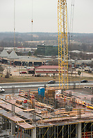 NWA Democrat-Gazette/BEN GOFF @NWABENGOFF<br /> Workers with McCarthy Building Companies work on the new tower Wednesday, Feb. 21, 2018, at Mercy Hospital Northwest Arkansas in Rogers.