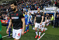 Bolton Wanderers' Jason Lowe and Jack Hobbs enter the pitch<br /> <br /> Photographer Andrew Kearns/CameraSport<br /> <br /> The EFL Sky Bet Championship - Wigan Athletic v Bolton Wanderers - Saturday 16th March 2019 - DW Stadium - Wigan<br /> <br /> World Copyright &copy; 2019 CameraSport. All rights reserved. 43 Linden Ave. Countesthorpe. Leicester. England. LE8 5PG - Tel: +44 (0) 116 277 4147 - admin@camerasport.com - www.camerasport.com