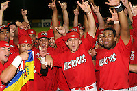 September 15 2008:  The Batavia Muckdogs, Class-A affiliate of the St. Louis Cardinals, celebrate winning the NY-Penn League championship after a game at Dwyer Stadium in Batavia, NY.  Frederick Parejo, Jose Garcia, Colt Sedbrook, Xavier Scruggs.  Photo by:  Mike Janes/Four Seam Images