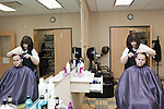 July 29, 2011. Cary, NC.. In the onsite salon, Scott Singer, who has worked at SAS for 6 years, gets his hair cut by stylist Pamela Painter, who has worked in the salon for 9 years.. Profile of SAS, a software company that has many amenities for its employees.