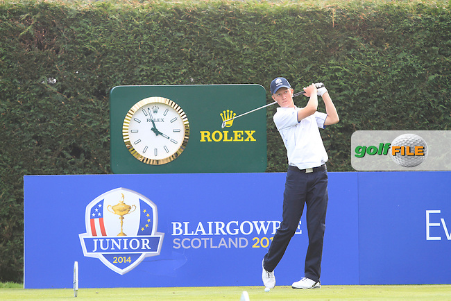 Marcus Kinhult (SWE) on the 15th tee of the Mixed Fourballs during the 2014 JUNIOR RYDER CUP at the Blairgowrie Golf Club, Perthshire, Scotland. <br /> Picture:  Thos Caffrey / www.golffile.ie