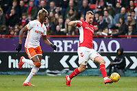 Blackpool's Armand Gnanduillet chases down Charlton Athletic's Patrick Bauer<br /> <br /> Photographer David Shipman/CameraSport<br /> <br /> The EFL Sky Bet League One - Charlton Athletic v Blackpool - Saturday 16th February 2019 - The Valley - London<br /> <br /> World Copyright © 2019 CameraSport. All rights reserved. 43 Linden Ave. Countesthorpe. Leicester. England. LE8 5PG - Tel: +44 (0) 116 277 4147 - admin@camerasport.com - www.camerasport.com