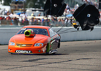 Aug 16, 2014; Brainerd, MN, USA; NHRA pro stock driver Dave River during qualifying for the Lucas Oil Nationals at Brainerd International Raceway. Mandatory Credit: Mark J. Rebilas-