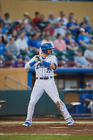 Paulo Orlando (22) of the Omaha Storm Chasers bats against the Round Rock Express at Werner Park on May 27, 2018 in Papillion , Nebraska. Round Rock defeated Omaha 8-3. (Stephen Smith/Four Seam Images)