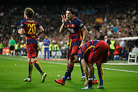 Barcelona´s players celebrate Luis Suarez´s goal during 2015-16 La Liga match between Real Madrid and Barcelona at Santiago Bernabeu stadium in Madrid, Spain. November 21, 2015. (ALTERPHOTOS/Victor Blanco) /NortePhoto