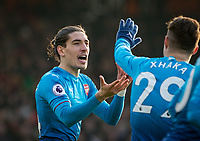 Goal scorer Hector Bellerin of Arsenal during the Premier League match between Bournemouth and Arsenal at the Goldsands Stadium, Bournemouth, England on 14 January 2018. Photo by Andy Rowland.