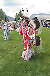 WY: Wyoming, Cody: Dancing at June Powwow of Plains Indians.Photo #: yellow652..Photo copyright Lee Foster, 510/549-2202, lee@fostertravel.com, www.fostertravel.com..