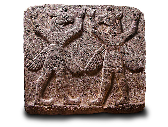 """Neo-Hittite orthostat describing the legend of Gilgamesh from Karkamis,, Turkey. Ancora Archaeological Museum. Symetrical mythological Scene depicting """"Winged Griffin Demons"""", half men with birds heads & wings. Their hands are raised above their heads supposidly carrying the sky. 1"""