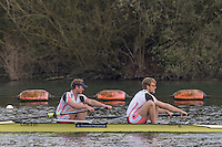 Caversham. Berkshire. UK<br /> Men's pair, Bow Matt ROSSITER and Cameron BUCHAN,  2016 GBRowing U23 Trials at the GBRowing Training base near Reading, Berkshire.<br /> <br /> Monday  11/04/2016 <br /> <br /> [Mandatory Credit; Peter SPURRIER/Intersport-images]