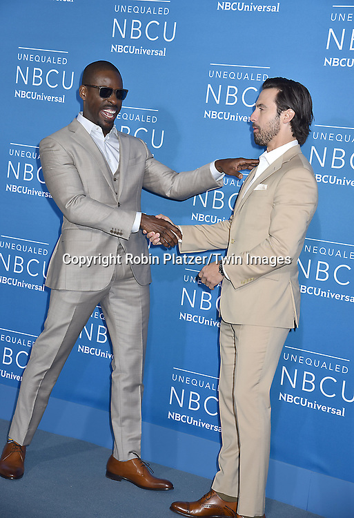 Sterling K Brown and Milo Ventimiglia of &quot;This Is Us&quot; attends the NBCUNIVERSAL 2017 UPFRONT on May 15, 2017 at Radio City Music Hall in New York, New York, USA.<br /> <br /> photo by Robin Platzer/Twin Images<br />  <br /> phone number 212-935-0770