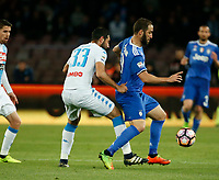 Gonzalo Higuain  during the  italian serie a soccer match,between SSC Napoli and Juventus       at  the San  Paolo   stadium in Naples  Italy , April 02, 2017