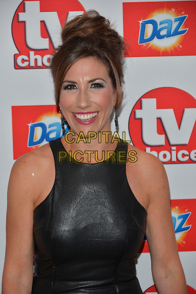 Gaynor Faye<br /> The TV Choice Awards 2013 at the Dorchester Hotel, London, England.<br /> 9th September 2013<br /> headshot portrait black leather dress sleeveless  <br /> CAP/PL<br /> &copy;Phil Loftus/Capital Pictures