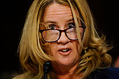 WASHINGTON, DC - SEPTEMBER 27: Christine Blasey Ford answers questions at a Senate Judiciary Committee hearing on Thursday, September 27, 2018 on Capitol Hill. (Melina Mara/Pool/The Washington Post)