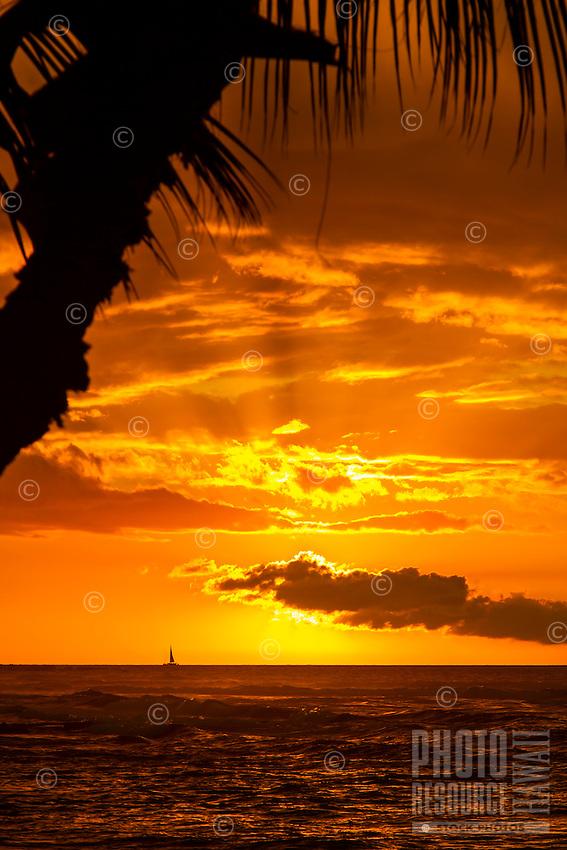 On Christmas day, a sailboat cruises past a fiery orange sunset off Mauna Lani, Big  Island.