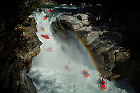 Aniol Serrasolses descends 50/50 Falls on the Ashlu River near Squamish, BC on August 4th, 2014.