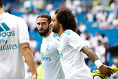 9th September 2017, Santiago Bernabeu, Madrid, Spain; La Liga football, Real Madrid versus Levante; Daniel Carvajal Ramos (2) of Real Madrid and Marcelo Viera da Silva (12) of Real Madrid warming up