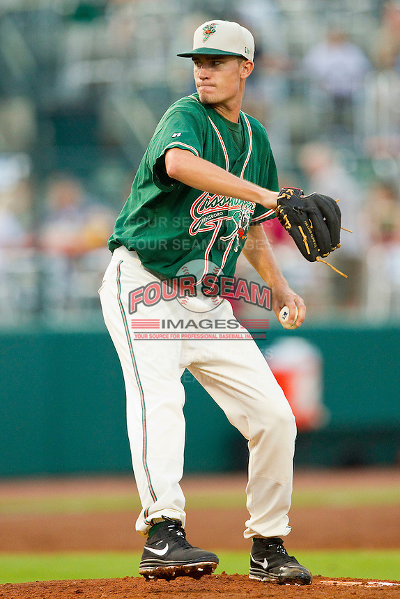 Greensboro Grasshoppers starting pitcher Andrew Heaney (30) in action against the Lakewood BlueClaws at NewBridge Bank Park on August 18, 2012 in Greensboro, North Carolina.  The Grasshoppers defeated the BlueClaws 9-4.  (Brian Westerholt/Four Seam Images)