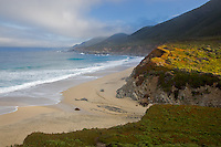 Garrapata State Park, CA<br /> Clearing morning fog on rocky headlands and Garrapata Beach