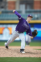 Furman Paladins relief pitcher Joshua Germany (18) in action against the Wake Forest Demon Deacons at BB&T BallPark on March 2, 2019 in Charlotte, North Carolina. The Demon Deacons defeated the Paladins 13-7. (Brian Westerholt/Four Seam Images)