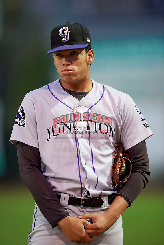 Ever Moya (25) of the Grand Junction Rockies during the game against the Ogden Raptors at Lindquist Field on September 9, 2019 in Ogden, Utah. The Raptors defeated the Rockies 6-5. (Stephen Smith/Four Seam Images)