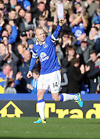Pictured: Steven Naismith of Everton celebrating his goal, making the score 2-1 to his team.  Sunday 16 February 2014<br />
