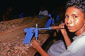 Altamira, Amazon, Brazil. Amazoncoop brazil nut oil factory; workers shelling nuts.