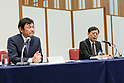(L to R) Hiroshi Watanabe Executive Officer of Showa Shell Sekiyu KK and Susumu Nibuya Director of Idemitsu Kosan Co, answer questions from the media during a news conference on May 9, 2017, Tokyo, Japan. The two oil distributors announced a business alliance to consolidate their refining and supply operations. Despite opposition from Idemitsu's founding family, the companies signed the agreement today and it will take immediate effect under the banner ''Brighter Energy Alliance.'' (Photo by Rodrigo Reyes Marin/AFLO)