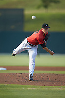 Kannapolis Intimidators starting pitcher Jonathan Stiever (20) delivers a pitch to the plate against the Delmarva Shorebirds at Kannapolis Intimidators Stadium on June 4, 2019 in Kannapolis, North Carolina. The Intimidators defeated the Shorebirds 9-0. (Brian Westerholt/Four Seam Images)