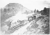 D&amp;RG #99 &quot;Kokomo&quot; and #46 &quot;Badito&quot; double-heading a passenger train on La Veta Pass.<br /> D&amp;RG  La Veta Pass, CO  Taken by Jackson, William Henry