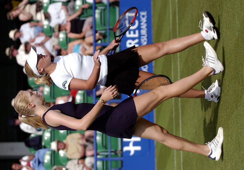 Photo: Richard Lane..Hastings Direct International Championship at Eastbourne. 15/06/2004..Amanda Janes and Elena Baltacha of Great Britain.