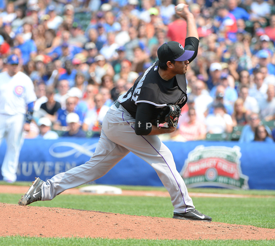 Colorado Rockies Pedro Hernandez (43) during a game against the Chicago Cubs on July 29, 2014 at Wrigley Field in Chicago, IL. The Cubs beat the Rockies 4-3.