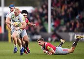 3rd December 2017, Twickenham Stoop, London, England; Aviva Premiership rugby, Harlequins versus Saracens; Vincent Koch of Saracens goes round James Lang of Harlequins